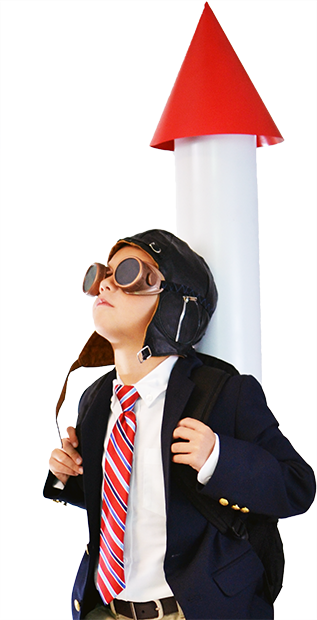 A kid with a rocket on his back in a business suit